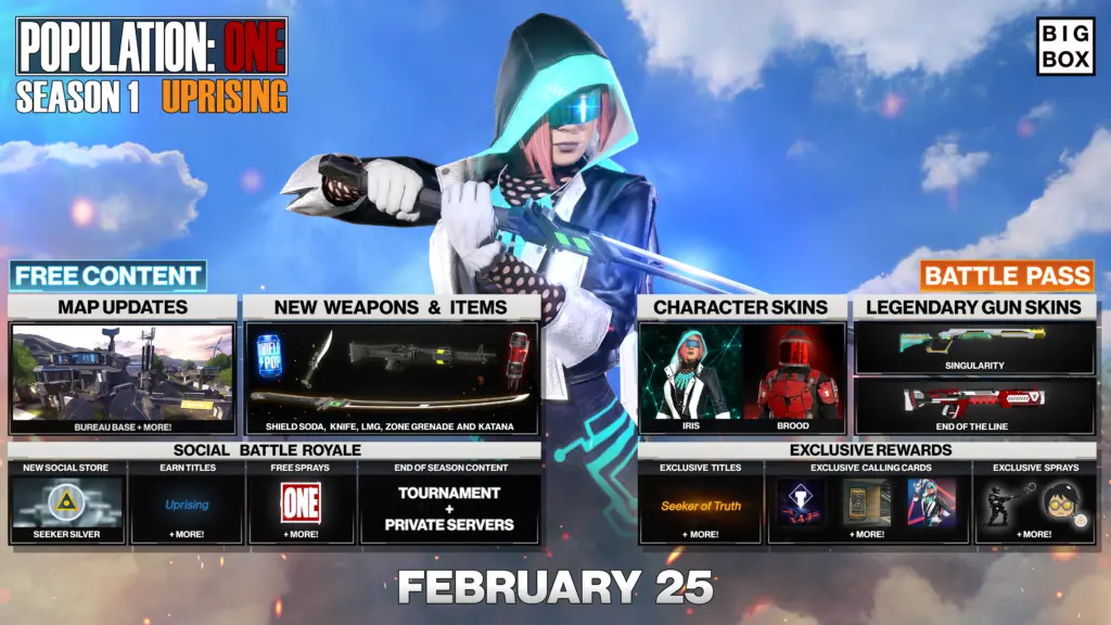 Melee weapon and new character skins are just two of the features you have to look forward to in the Population: One, Season 1 event.